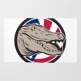 American Alligator USA Flag Icon Rug