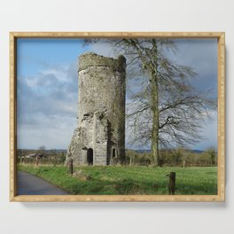 Irish Castle tower ruin Serving Tray
