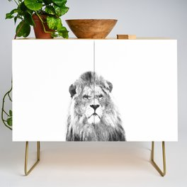 Black and white lion animal portrait Credenza