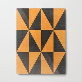 Geometric Triangle Pattern - Yellow, Gray Metal Print
