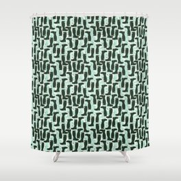 Hunter Green Wellington Welly Boots with Bluebell Flowers on Pastel Aqua Streaky Stripes Shower Curtain