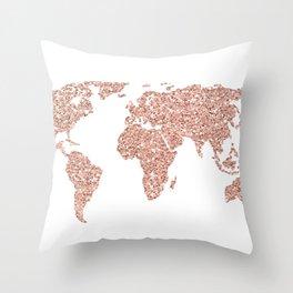 Rose Gold Glitter World Map Throw Pillow