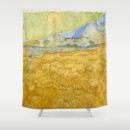 """Vincent van Gogh """"Wheat Field behind Saint Paul Hospital with a Reaper"""" Shower Curtain"""