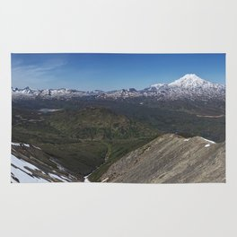 Beautiful panorama landscape view of rocky mountains and lakes on sunny day. Kamchatka Peninsula Rug