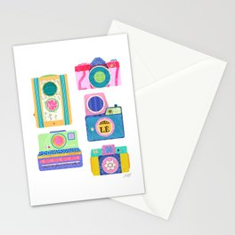 Colorful Vintage Camera Collage Stationery Cards