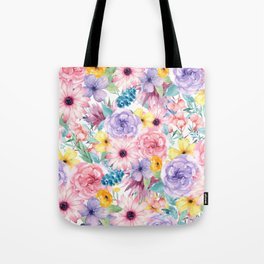 Modern elegant pink lavender yellow watercolor floral Tote Bag