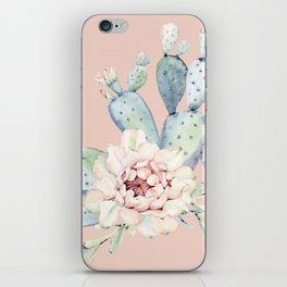 Sweet Pink Rose Desert Cactus iPhone Skin