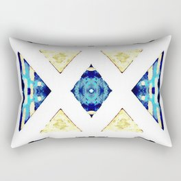 Geometric Rug in Gold, Black and Blue Rectangular Pillow