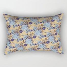 Australian Birds & Flowers on Mustard Rectangular Pillow