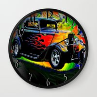 ford Wall Clocks featuring 32 Ford by JT Digital Art