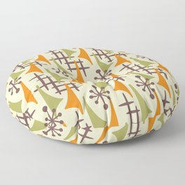 Mid Century Modern Atomic Wing Composition 224 Orange and Green Floor Pillow