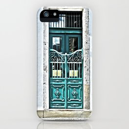 Teal Iron Gate and Door  iPhone Case