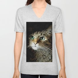 Tabby Cat With Green Eyes Isolated On Black Unisex V-Neck