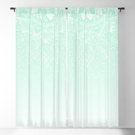 Elegant white and mint mandala confetti design Blackout Curtain
