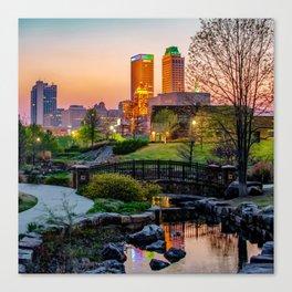Tulsa Skyline Park View Canvas Print