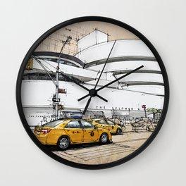 Guggenheim New York, umbrellas and yellow cabs. Sketch Wall Clock