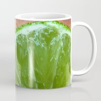 lime green Mugs featuring Lime Green and Fresh by BluedarkArt