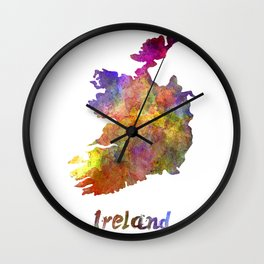 Ireland in watercolor Wall Clock