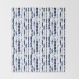 Shibori Stripes 2 Indigo Blue Throw Blanket