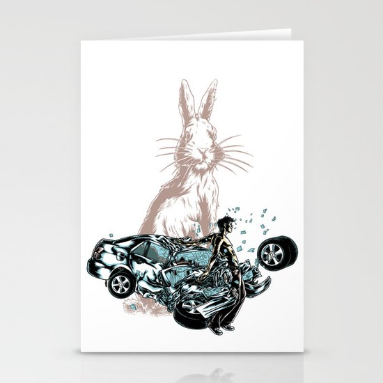 Rabbit In Your Headlights Stationery Cards