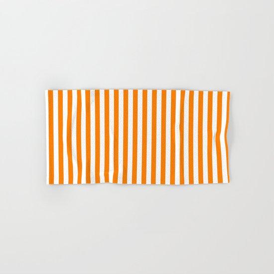 Vertical Stripes (Orange/White) Hand & Bath Towel