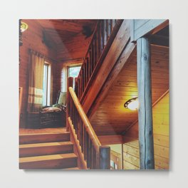 Cabin Staircase Metal Print