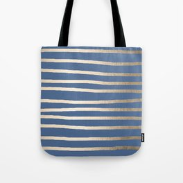 Simply Drawn Stripes White Gold Sands on Aegean Blue Tote Bag