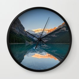 Lake Louise Sunrise Reflection Canadian Rockies Banff National Park Landscape  Wall Clock