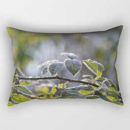First Frost on Green Leaves Rectangular Pillow
