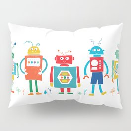 Robots Cheerful and Bright in Line Pillow Sham