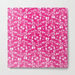 Rose Pink Floral Pattern Metal Print