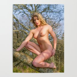 Nude Woman On A Tree Poster