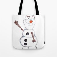 olaf Tote Bags featuring olaf from frozen by Art_By_Sarah