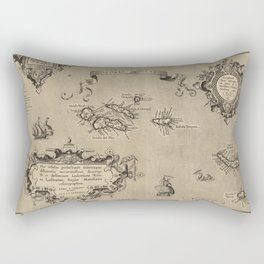 Vintage Map of Azores Islands (1608) Rectangular Pillow