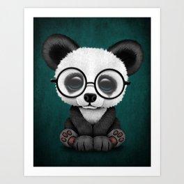 Cute Panda Bear Cub with Eye Glasses on Teal Blue Art Print