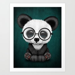 Cute Panda Bear Cub with Eye Glasses on Teal Blue Art Print