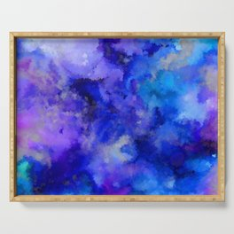 Abstract Art Pour - Blue, Purple and Grey Serving Tray