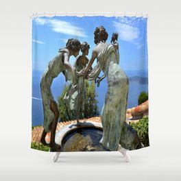 Three Angels in Eze Village Shower Curtain