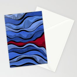 Blue Waves With Interrupting Red Stationery Cards
