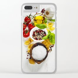 italian pasta with vegetables, herbs, spices, cheese and olive oil Clear iPhone Case
