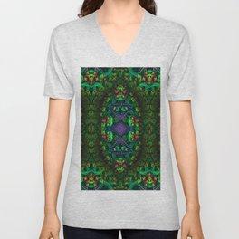 Psychedelic - Forest - Fractal - Manafold Art Unisex V-Neck