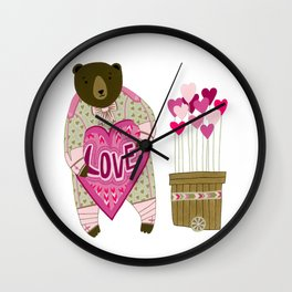 Bear with loveheart Wall Clock
