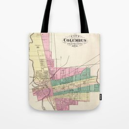 Map of Columbus 1872 Tote Bag