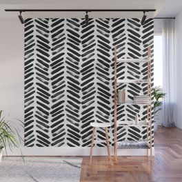 Simple black and white handrawn chevron - horizontal Wall Mural