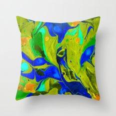 Green Flow Throw Pillow