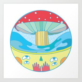 Happy fungus Art Print