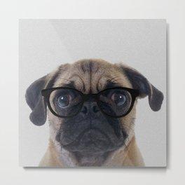 Geek Pug Metal Print