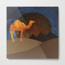 Camel, Desert and Pyramid Metal Print