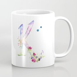 Letter K watercolor - Watercolor Monogram - Watercolor typography - Floral lettering Coffee Mug