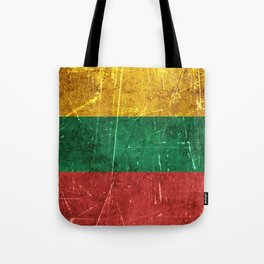 Vintage Aged and Scratched Lithuanian Flag Tote Bag